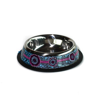 Stainless Steel Aboriginal Art Pet Bowl - Emu Dreaming
