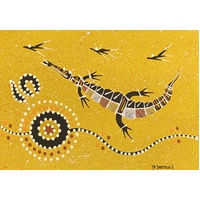 Handpainted Aboriginal Art Canvas Board (5x7) - Crocodile 2 (Yellow)