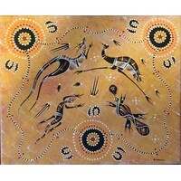 Handpainted Aboriginal Art Stretched Canvas (25cm x 30cm) - Kangaroo/Emu/Lizard/Platypus (Ochre)