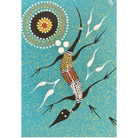 Handpainted Aboriginal Art 5x7 Canvas Board - Lizard 2 (Turquoise)