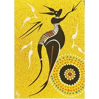 Handpainted Aboriginal Art 5x7 Canvas Board - Kangaroo 2 (Yellow)