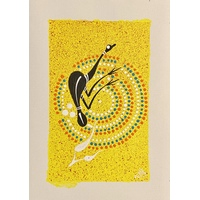 Handpainted Aboriginal Art Canvas Sheet (15cm x 21cm ) - Emu (Yellow)
