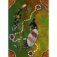 Aboriginal Handpainted Canvas Board (13cm X 18cm) - Kangaroo 1