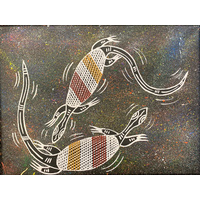 Original Aboriginal Art Painting Stretched Black Canvas (30cm x 23cm) - Oola the Lizard