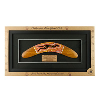 Framed Aboriginal Dot Art Handpainted Boomerang (25cm) Small