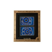 Murra Wolka Framed Aboriginal Handpainted Dot Art (22cm x 19cm) - Double Mat (Blue)