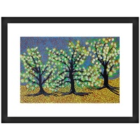 Framed Aboriginal Art Print [40cm x 30cm] - Flowering Coolibah Trees [Bush Tucker Series]