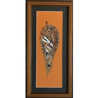 Framed handpainted Large Gumleaf - Brolga (Terracotta)