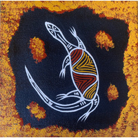 Handpainted Aboriginal Art Black Canvas (15cm x 15cm) - Lizard