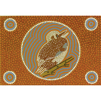 Aboriginal Art Print on Stretched Canvas (30cm x 20cm) - Goo-Goor-Ga-Ga the Kookaburra