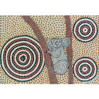 Aboriginal Art Print on Stretched Canvas (30cm x 20cm) - Koorbor the Koala