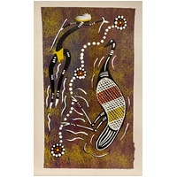Unstretched Handpainted Aboriginal Art Canvas (19cm x 28cm) - Emu Dancer