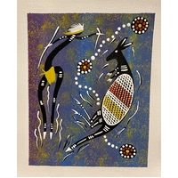 Unstretched Handpainted Aboriginal Art Canvas (21cm x 25cm) - Kangaroo Dancer (Blue)