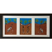 Framed Handpainted 3PCE Canvas - Emu Dancers