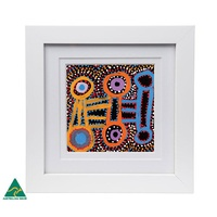 Framed Warlukurlangu Aboriginal Art Print - Seed & Water Dreaming