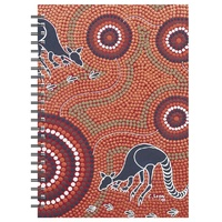 Tobwabba Aboriginal Art A5 Spiral Notebook - Grazing Kangaroos