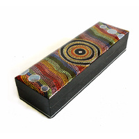 Lacquered Aboriginal Art Pencil Box - Rockholes