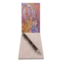 Utopia Aboriginal Art Small Notepad - Firesparks (Pink)