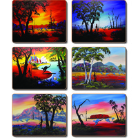 Aboriginal Cork Coaster Set (6) - Walkabout