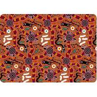 Bulurru Aboriginal Art Neoprene Placemat - Bush Tucker (Tan)