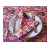 Keringke Aboriginal Art Cotton Tablecloth (Pink) + Set (4) Napkins