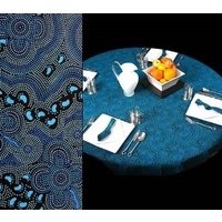 Bulurru Aboriginal Art Tablecloth (145cm Round) - On Walkabout (Blue)