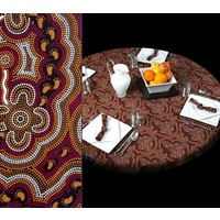Bulurru Aboriginal Art Tablecloth (145cm Round) - On Walkabout (Wine)