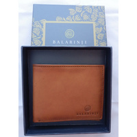 Balarinji Aboriginal design Tan Leather Men's Wallet - Sand Dunes (1 fold)