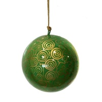 Better World Aboriginal Art Lacquered Xmas Ball Decoration - Seven Sisters Dreaming (Green)