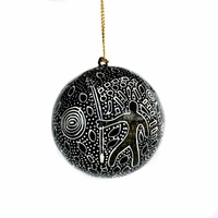 Better World Aboriginal Art Lacquered Xmas Ball Decoration - Spirit Man