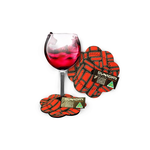 Bunabiri Aboriginal Art Neoprene Wine Glass Coaster - Campgrounds