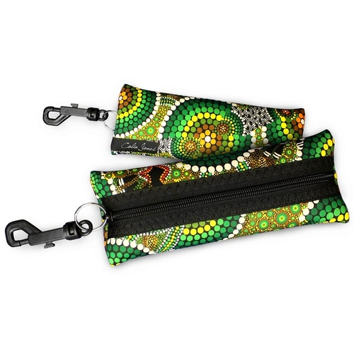 Bunabiri Aboriginal Art Neoprene Eyewear Case - Colours of the Rainforest