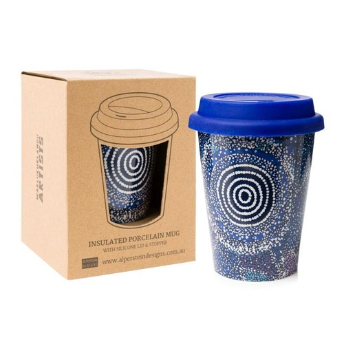 Warlukurlangu Aboriginal Art Insulated Porcelain Travel Mug - Seven Sisters Dreaming