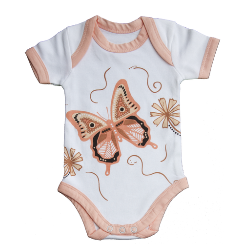 Muralappi Dreamytime Aboriginal design Soft Cotton Romper (0-3mths) - Walbul the Butterfly