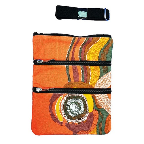 Jijaka Aboriginal Art 3 Zip Canvas Shoulder Bag - River Place