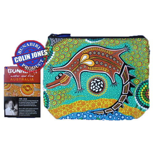 Bunabiri Aboriginal Art 1 Zip Cosmetic Purse - Crocodile Dreaming