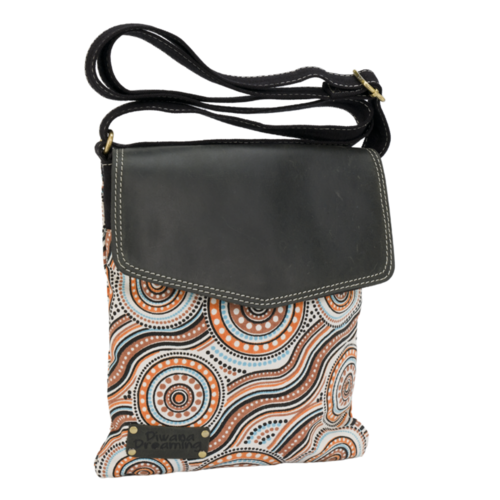 Diwana Dreaming Canvas/Black Leather Shoulder Bag (24cm x 26cm) - River of Life