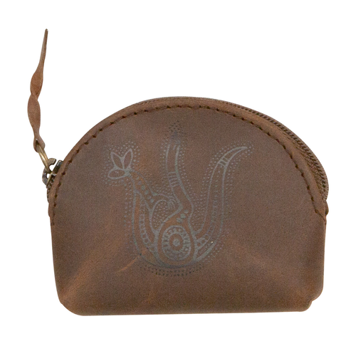 Muralappi Journey Antique Leather Small Coin Purse (8cm x 6cm) - Kangaroo in Summer Flowers (Aqua)