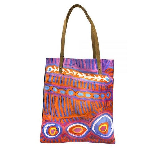 Better World Aboriginal Art Printed Cotton Canvas Shoulder Tote Bag (43cm x 38cm) - Two Dogs Dreaming