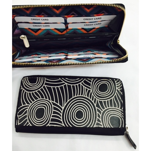 Iwantja Aboriginal Art Ladies Leather Zip Wallet - Black