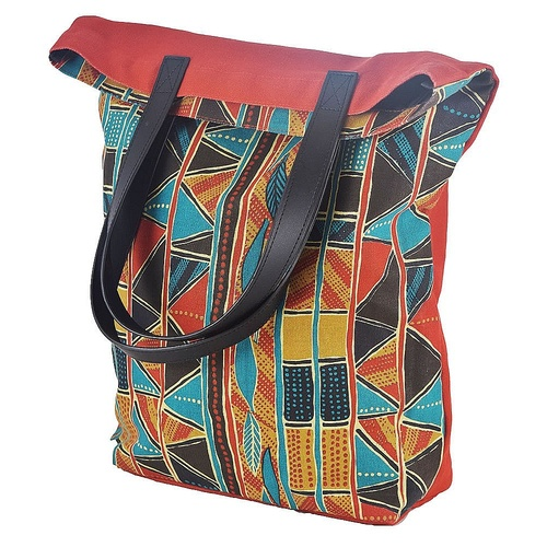 Jijaka Aboriginal Dot Art Canvas Shopping/Tote Bag - Bark