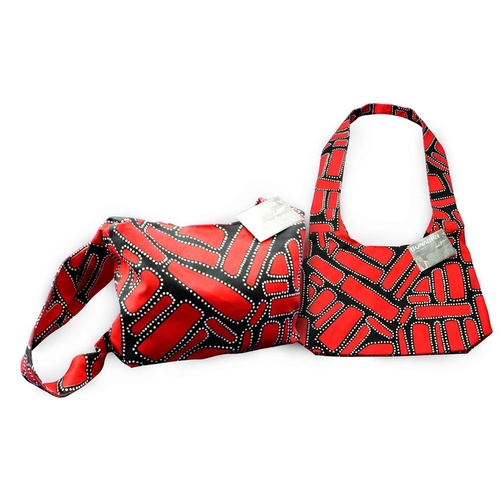 Bunabiri Aboriginal Art Cotton Hippie Sling Bag - Campgrounds