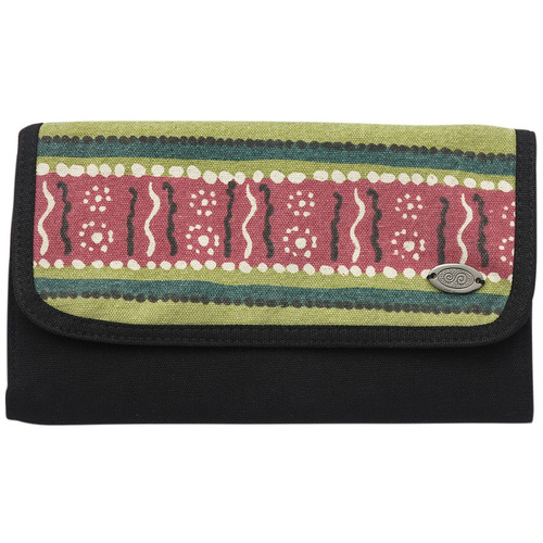 Outstations Aboriginal Art Calico Travel Wallet - Bush Leaves