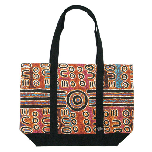 Outstations Aboriginal Art Canvas Tote Bag - Biddy Timms (Brown/Black)
