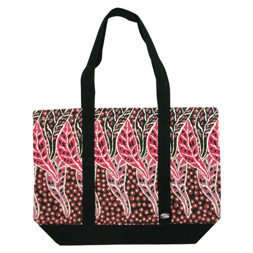 Outstations Aboriginal Art Canvas Tote Bag - Bush Leaves (Red)