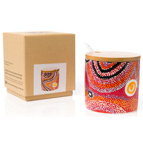 Warlukurlangu Aboriginal Art Fine Porcelain Sugar Bowl Set - Fire Dreaming