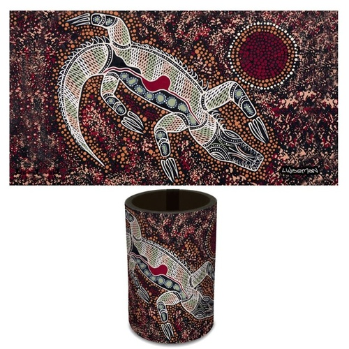 Tobwabba Aboriginal Art Neoprene Can Cooler - Crocodile