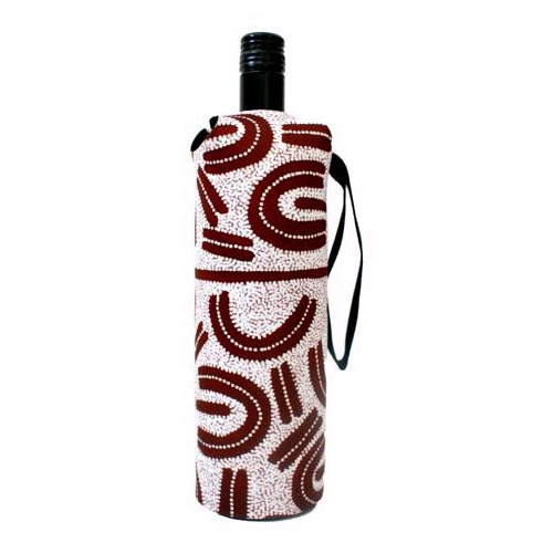 Utopia Aboriginal Art Neoprene Wine Bottle Cooler - Bush Plum Dreaming