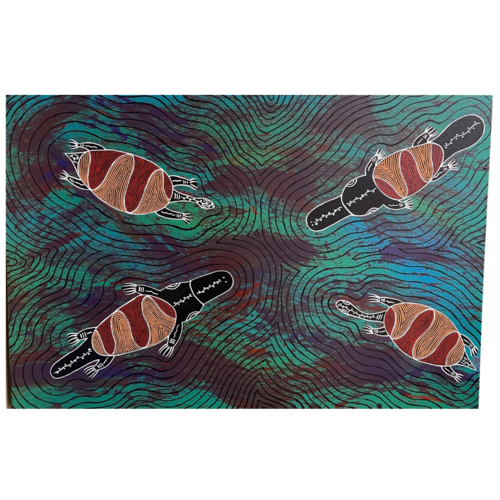 Original Aboriginal Art Stretched Canvas (90cm x 60cm) - Animals of the Waterways