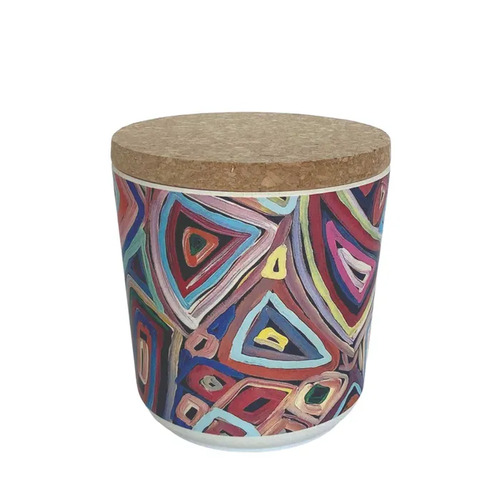 Utopia Aboriginal Art Bamboo Fibre Cannister (Small) - Untitled